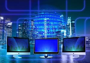 monitor, vernetzen, netzwerk